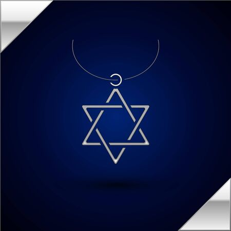 Silver Star of David necklace on chain icon isolated on dark blue background. Jewish religion symbol. Symbol of Israel. Jewellery and accessory. Vector Illustration