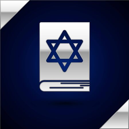 Silver Jewish torah book icon isolated on dark blue background. Pentateuch of Moses. On the cover of the Bible is the image of the Star of David. Vector Illustration Çizim