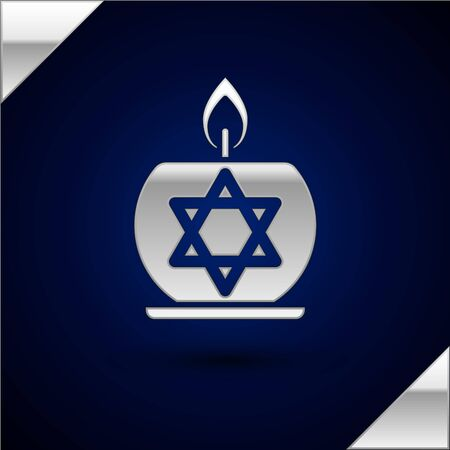 Silver Burning candle in candlestick with star of david icon isolated on dark blue background. Cylindrical candle stick with burning flame. Vector Illustration
