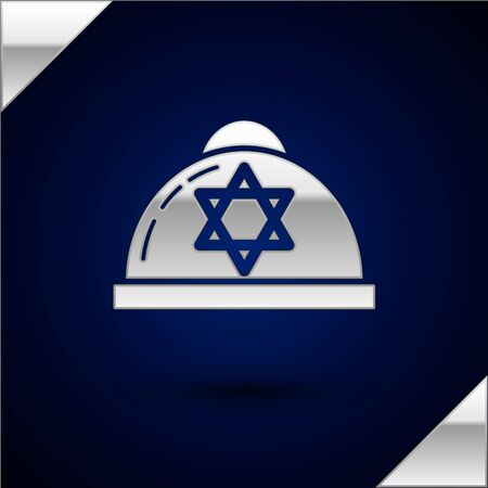 Silver Jewish kippah with star of david icon isolated on dark blue background. Jewish yarmulke hat. Vector Illustration