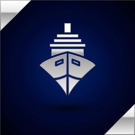 Silver Cargo ship icon isolated on dark blue background. Vector Illustration Illustration