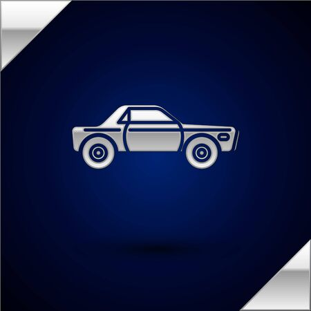 Silver Sedan car icon isolated on dark blue background. Vector Illustration