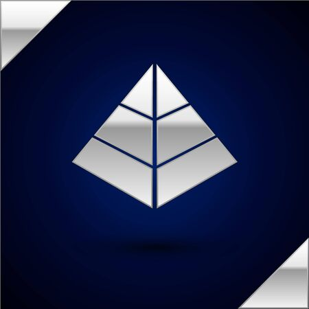 Silver Egypt pyramids icon isolated on dark blue background. Symbol of ancient Egypt. Vector Illustration