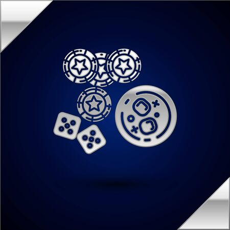 Silver Casino chips, game dice and glass of whiskey with ice cubes icon isolated on dark blue background. Casino poker. Vector Illustration