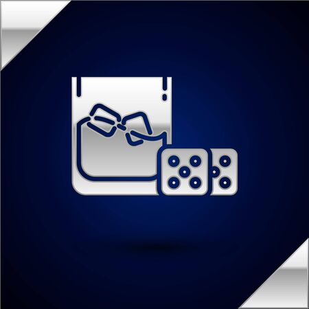 Silver Game dice and glass of whiskey with ice cubes icon isolated on dark blue background. Casino gambling. Vector Illustration
