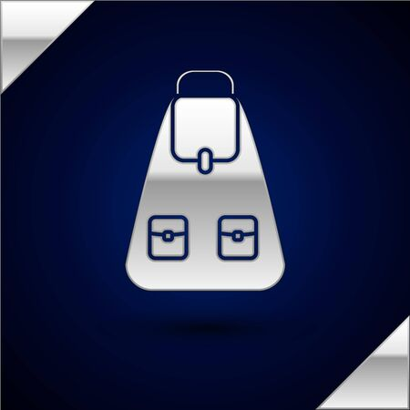 Silver School backpack icon isolated on dark blue background. Vector Illustration Stock Illustratie