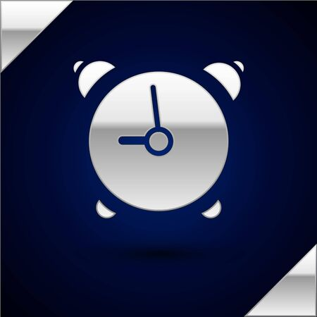 Silver Alarm clock icon isolated on dark blue background. Wake up, get up concept. Time sign. Vector Illustration
