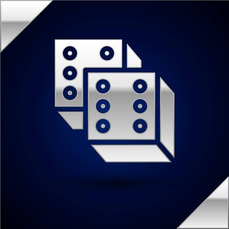 Silver Game dice icon isolated on dark blue background. Casino gambling. Vector Illustration