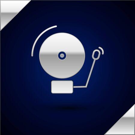 Silver Ringing alarm bell icon isolated on dark blue background. Alarm symbol, service bell, handbell sign, notification symbol. Vector Illustration Illustration