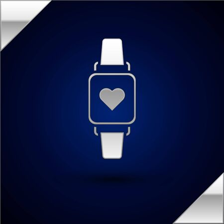 Silver Smart watch showing heart beat rate icon isolated on dark blue background. Fitness App concept. Vector Illustration