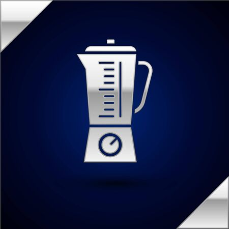 Silver Blender icon isolated on dark blue background. Kitchen electric stationary blender with bowl. Cooking smoothies, cocktail or juice. Vector Illustration