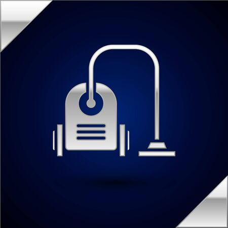 Silver Vacuum cleaner icon isolated on dark blue background. Vector Illustration