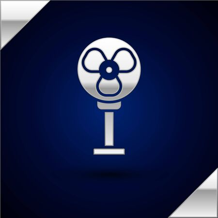 Silver Electric fan icon isolated on dark blue background. Vector Illustration