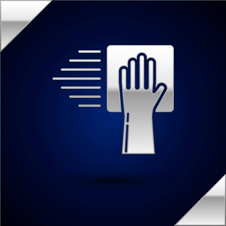 Silver Cleaning service icon isolated on dark blue background. Vector Illustration