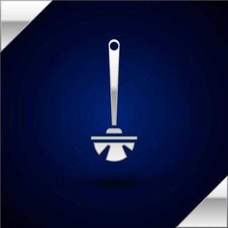Silver Toilet brush icon isolated on dark blue background. Vector Illustration 向量圖像