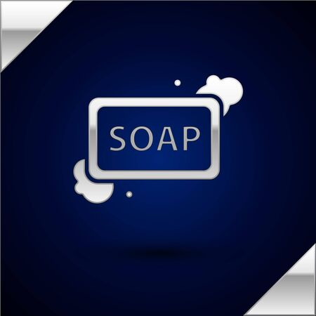 Silver Bar of soap with foam icon isolated on dark blue background. Soap bar with bubbles. Vector Illustration