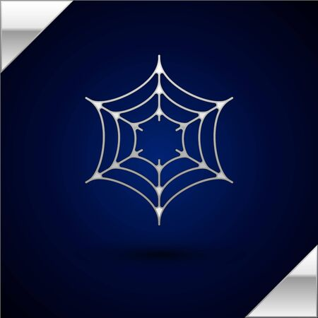 Silver Spider web icon isolated on dark blue background. Cobweb sign. Happy Halloween party. Vector Illustration