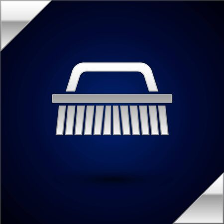 Silver Brush for cleaning icon isolated on dark blue background. Vector Illustration
