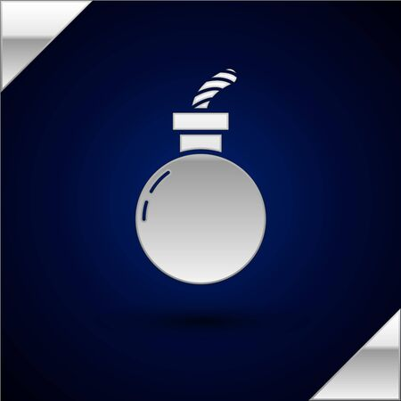 Silver Bomb ready to explode icon isolated on dark blue background. Happy Halloween party. Vector Illustration