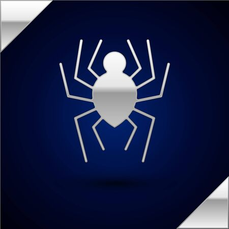 Silver Spider icon isolated on dark blue background. Happy Halloween party. Vector Illustration Illustration