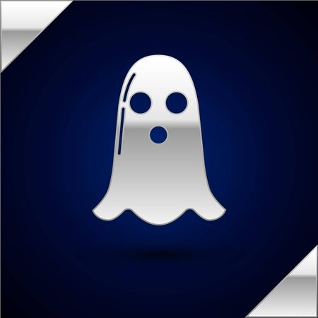Silver Ghost icon isolated on dark blue background. Happy Halloween party. Vector Illustration