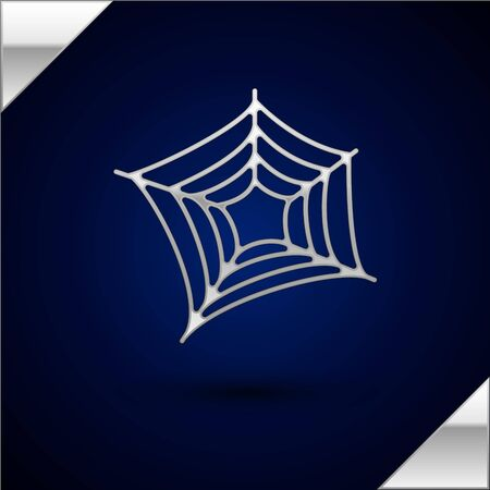Silver Spider web icon isolated on dark blue background. Cobweb sign. Happy Halloween party. Vector Illustration Фото со стока - 130508438