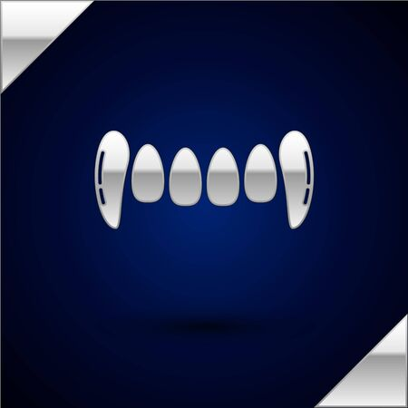 Silver Vampire teeth icon isolated on dark blue background. Happy Halloween party. Vector Illustration Иллюстрация