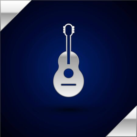 Silver Guitar icon isolated on dark blue background. Acoustic guitar. String musical instrument. Vector Illustration Illustration