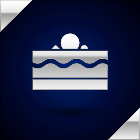 Silver Cake icon isolated on dark blue background. Happy Birthday. Vector Illustration