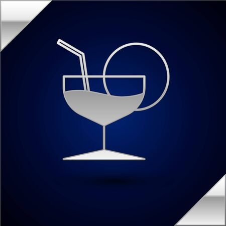 Silver Martini glass icon isolated on dark blue background. Cocktail icon. Wine glass icon. Vector Illustration Çizim