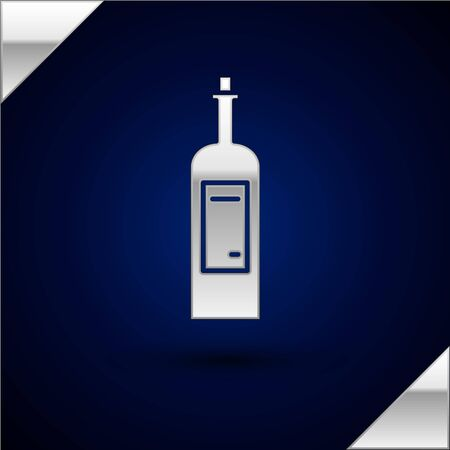 Silver Bottle of wine icon isolated on dark blue background. Vector Illustration