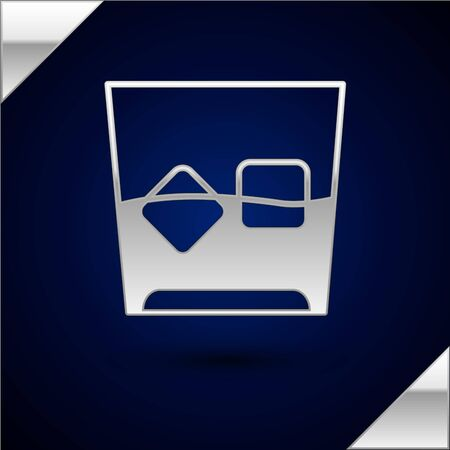 Silver Glass of whiskey and ice cubes icon isolated on dark blue background. Vector Illustration