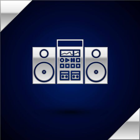 Silver Home stereo with two speakers icon isolated on dark blue background. Music system. Vector Illustration