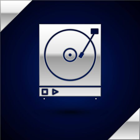 Silver Vinyl player with a vinyl disk icon isolated on dark blue background. Vector Illustration