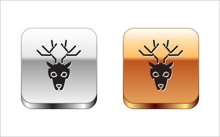 Black Deer head with antlers icon isolated on white background. Silver-gold square button. Vector Illustration
