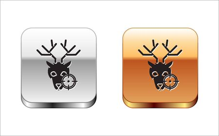 Black Hunt on deer with crosshairs icon isolated on white background. Hunting club with deer and target. Rifle lens aiming a deer. Silver-gold square button. Vector Illustration