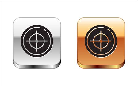 Black Target sport for shooting competition icon isolated on white background. Clean target with numbers for shooting range or shooting. Silver-gold square button. Vector Illustration Ilustração