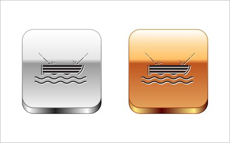 Black Fishing boat with fishing rod on water icon isolated on white background. Silver-gold square button. Vector Illustration