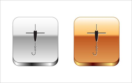 Black Fishing hook and float icon isolated on white background. Fishing tackle. Silver-gold square button. Vector Illustration