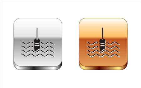 Black Fishing float in water icon isolated on white background. Fishing tackle. Silver-gold square button. Vector Illustration