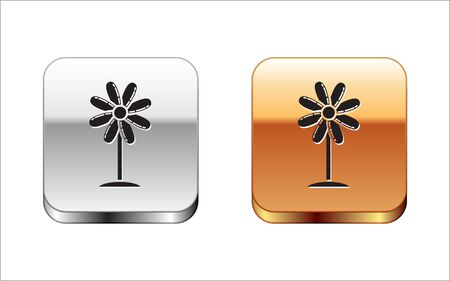 Black Flower icon isolated on white background. Sweet natural food. Silver-gold square button. Vector Illustration Çizim