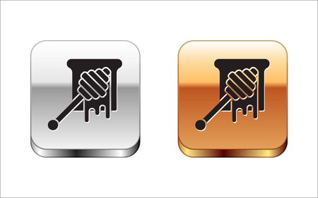 Black Honey dipper stick with dripping honey icon isolated on white background. Honey ladle. Silver-gold square button. Vector Illustration Çizim