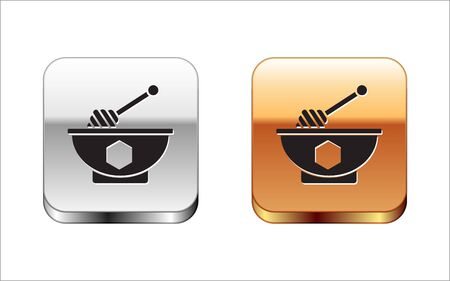 Black Honey dipper stick and bowl icon isolated on white background. Honey ladle. Silver-gold square button. Vector Illustration