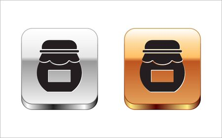 Black Jar of honey icon isolated on white background. Food bank. Sweet natural food symbol. Silver-gold square button. Vector Illustration