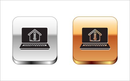 Black Laptop with house temperature icon isolated on white background. Thermometer icon. Silver-gold square button. Vector Illustration Stock Illustratie