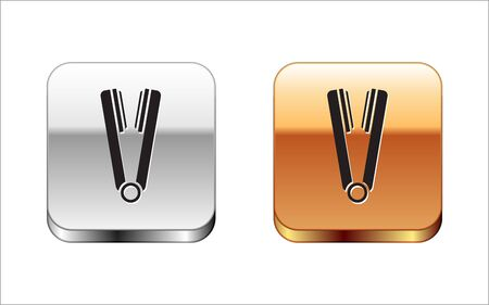 Black Curling iron for hair icon isolated on white background. Hair straightener icon. Silver-gold square button. Vector Illustration