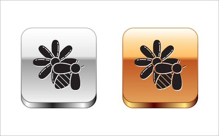 Black Bee and flower icon isolated on white background. Sweet natural food. Honeybee or apis with wings symbol. Flying insect. Silver-gold square button. Vector Illustration Çizim