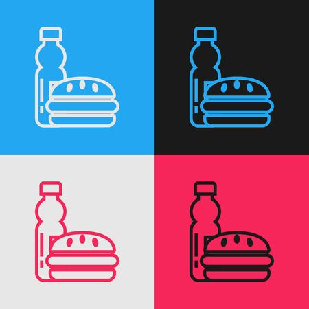 Color line Bottle of water and burger icon isolated on color background. Soda aqua drink sign. Hamburger, cheeseburger sandwich. Fast food menu. Vintage style drawing. Vector Illustration