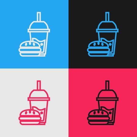 Color line Paper glass with drinking straw and burger icon isolated on color background. Soda aqua drink sign. Hamburger, cheeseburger sandwich. Vintage style drawing. Vector Illustration
