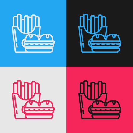 Color line Burger and french fries in carton package box icon isolated on color background. Hamburger, cheeseburger sandwich. Fast food menu. Vintage style drawing. Vector Illustration